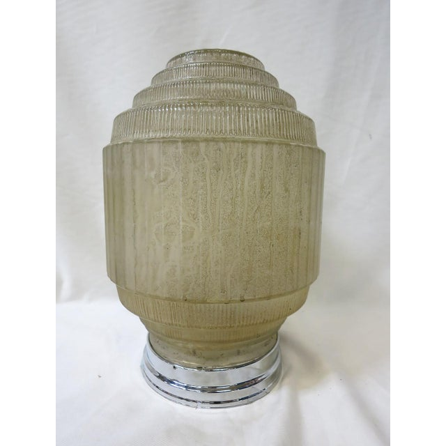 """Rare Art Deco """"Federal"""" Skyscraper Globe in textured glass features ribbed pattern detail and a five-tier design that will..."""