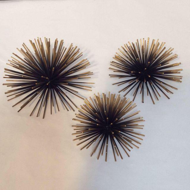 Gold Tipped Sea Urchin Wall Decor - Set of 3 | Chairish