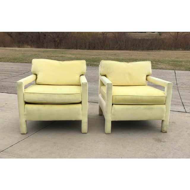 1980s Vintage Yellow Velvet Milo Baughman Style Parsons Open Arm Club Chairs- A Pair For Sale - Image 12 of 12