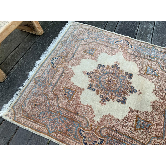 Vintage Persian Tabriz rug with a great neutral color palette and a brilliant bohemian arabesque look. The pops of baby...