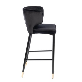 Kayla Upholstered Curved Black and Gold Bar Chair Preview