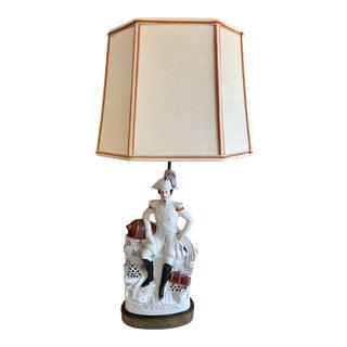 Antique Emperor Napoleon Staffordshire Lamp For Sale