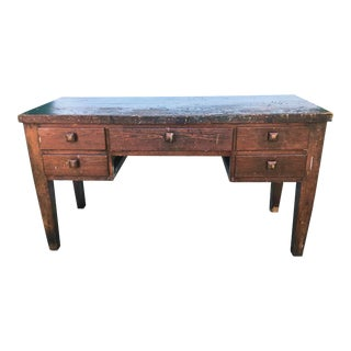 Antique Traditional Plank Board Top Writing Desk For Sale