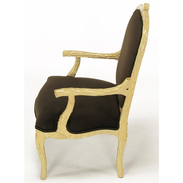Pair of Faux Bois and Velvet Louis XV Style Fauteuils - Image 5 of 10