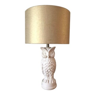 White Ceramic Owl Lamps With Metallic Gold Linen Lampshades - a Pair
