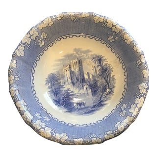 19th Century Large Blue and White Pottery Bowl For Sale