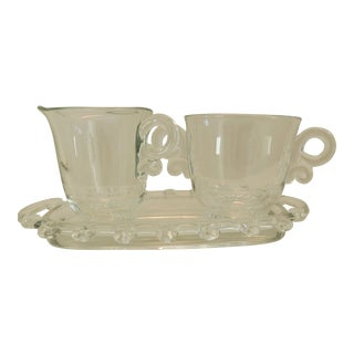 Heisey Glass Cream & Sugar Set With Tray - Set of 3