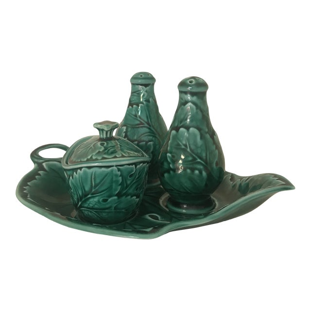 Wedgwood Green Majolica Condiment Set For Sale