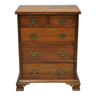 Antique Small Miniature Pine Wood Chippendale Style Tall Chest Dresser For Sale