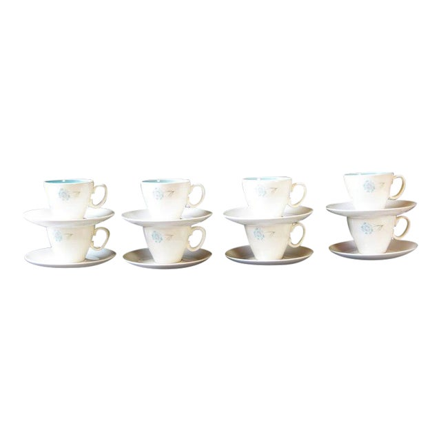 Vintage Ever Yours Boutonniere Robin Egg Blue Interior Coffee or Tea Cups and Saucers by Taylor, Smith and Taylor - Set of 8 For Sale