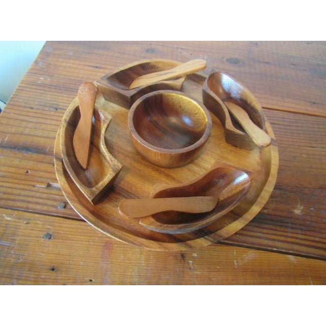 This mid century teak serving tray for Hors d'Oeuvres will be the perfect pice for your hosting needs. It was sealed in a...