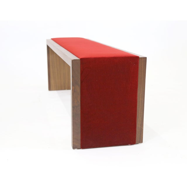 Walnut Bench With Red Velvet Upholstered Seat - Image 4 of 7