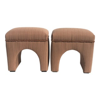 1970s Vintage Waterfall Ottomans- A Pair For Sale