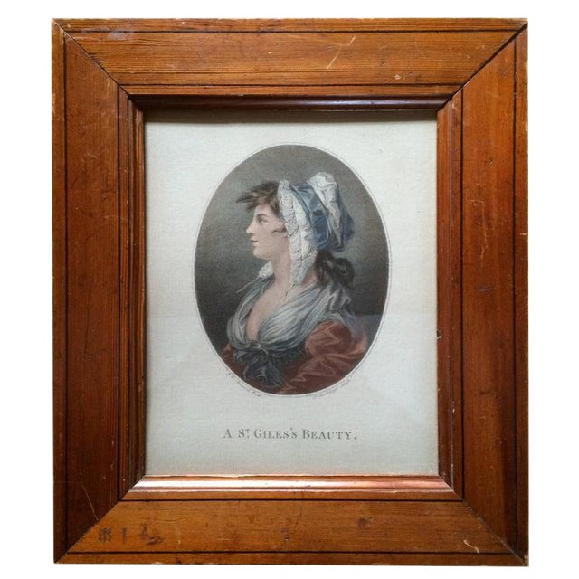 """18th Century Color Engraving """"A St. Giles's Beauty"""" For Sale"""