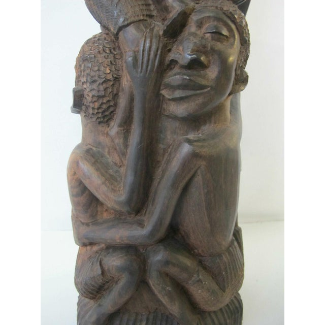 African Vintage Makonde Tree of Life Wood Carving Sculpture Signed Amisi For Sale - Image 3 of 6