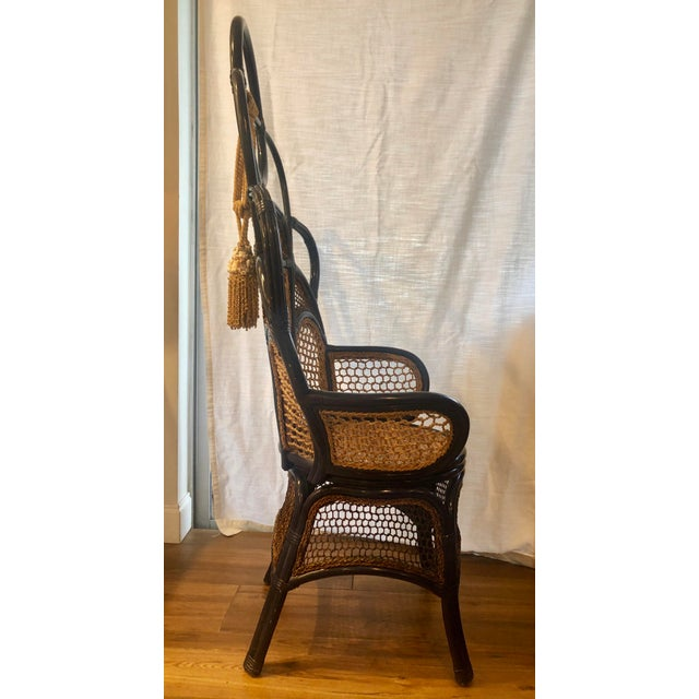 2010s Modern Anthropologie Rattan Wicker and Cane High Gloss Navy Blue Peacock Chair For Sale - Image 5 of 6