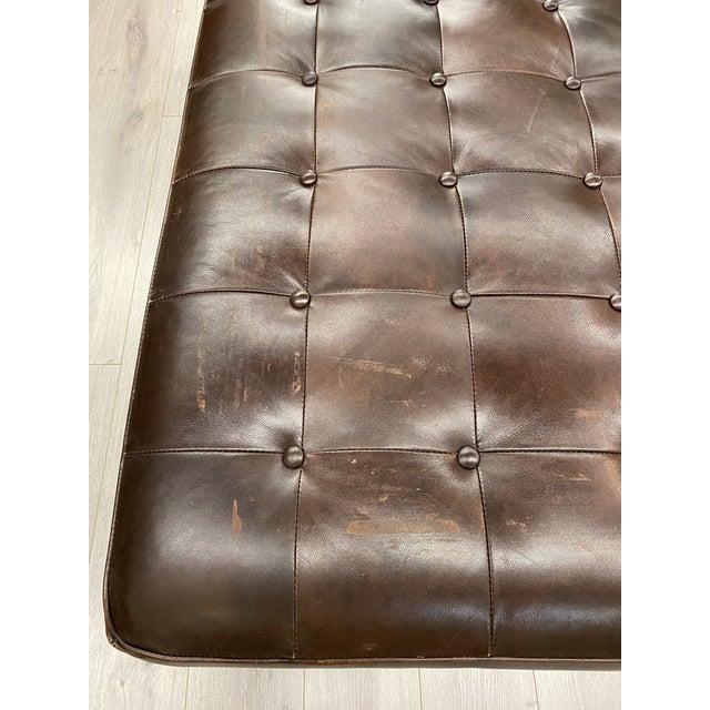 Lee Industries Contemporary Lee Industries Large Brown Leather Square Ottoman Coffee Table For Sale - Image 4 of 9
