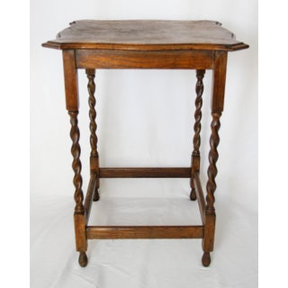Antique English Oak Barley Twist Side Table Preview