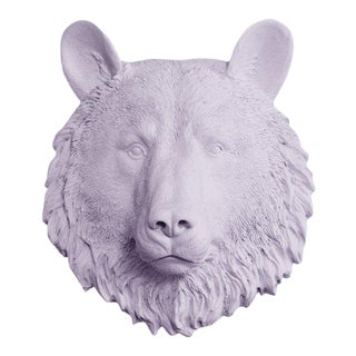Wall Charmers Faux Purple Lavender Mini Bear Head Wall Sculpture