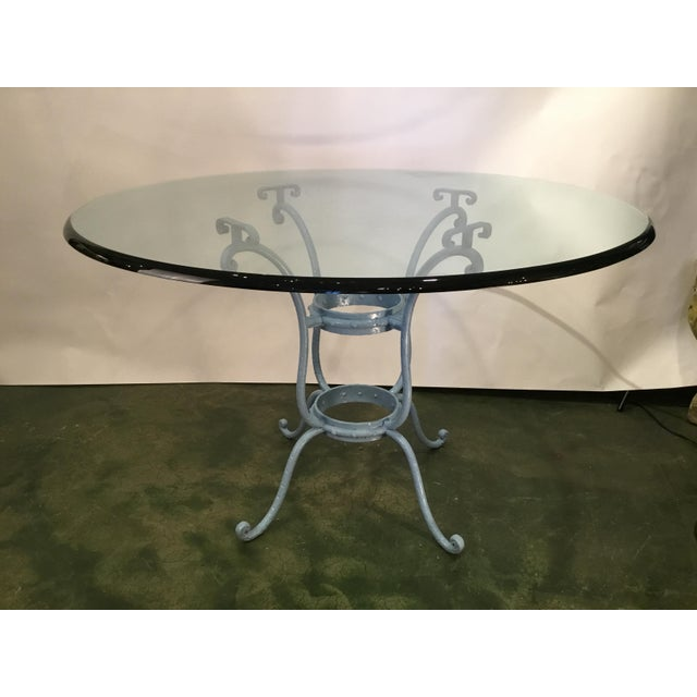 English French Blue Iron Base Table With Rounded Beveled Edge Glass Top For Sale - Image 3 of 11