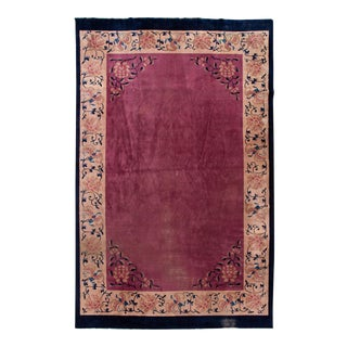 Antique Art Deco Chinese Purple Wool Rug 11 Ft 11 in X 19 Ft 2 In. For Sale