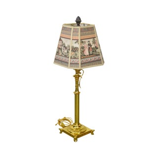 Quality Brass Candlestick Lamp W/ Shade For Sale