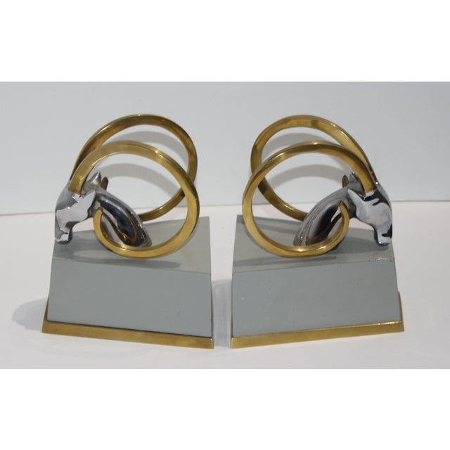 Metal Art Deco Revival Gazelle Brass & Wood Bookends - a Pair For Sale - Image 7 of 10