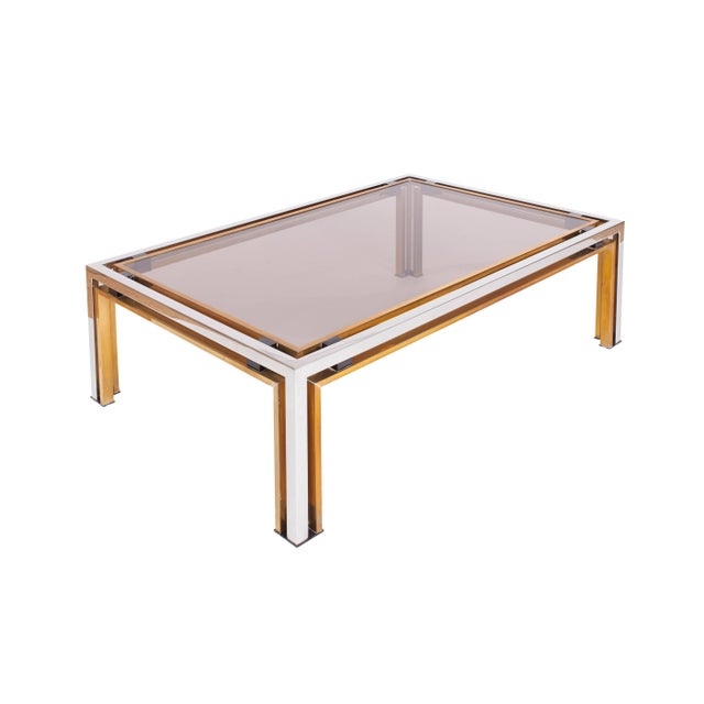 Romeo Rega Romeo Rega Coffee Table in Brass and Chrome For Sale - Image 4 of 5