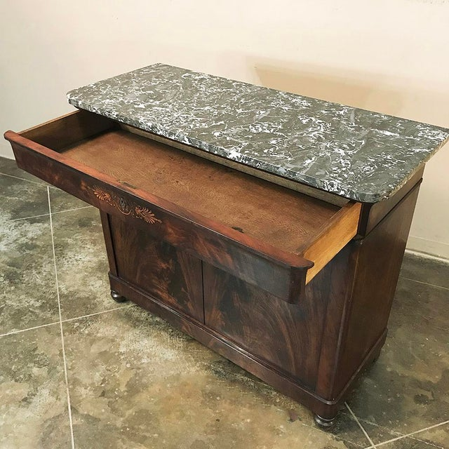 Brown 19th Century French Charles X Mahogany Marble Top Buffet For Sale - Image 8 of 13