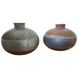 Pair of Antique Metal Water Jugs as Decorative Urns Planters For Sale