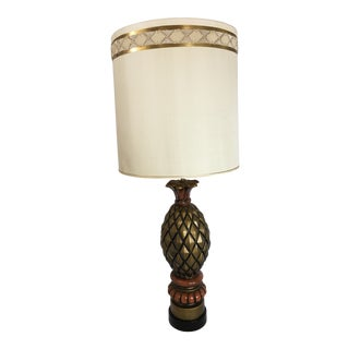 1960s Mid Century Modern Gold Ceramic Pineapple Lamp For Sale