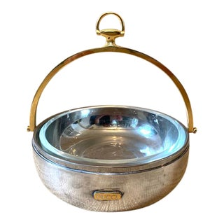 Gucci Vintage Silver and Brass Horsebit Dish/Bowl For Sale