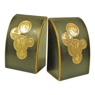 Vintage Leather Gold Coin Bookends - A Pair