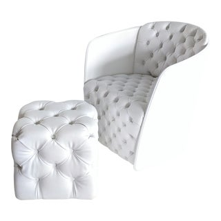 Modern Italian White Leather Tufted Armchair & Ottoman For Sale