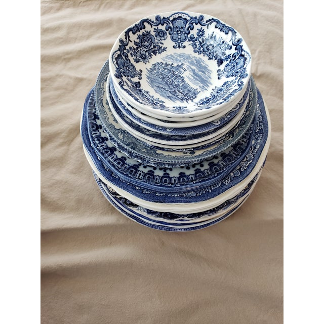 Blue Vintage Blue & White China Plates-Set of 25 For Sale - Image 8 of 9