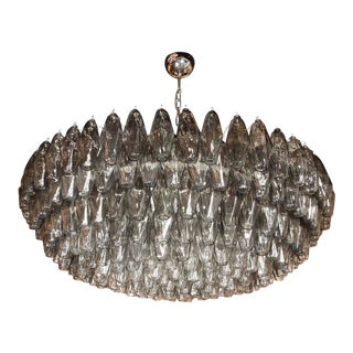 Modernist Handblown Murano Polyhedral Chandelier in Smoked Pewter For Sale
