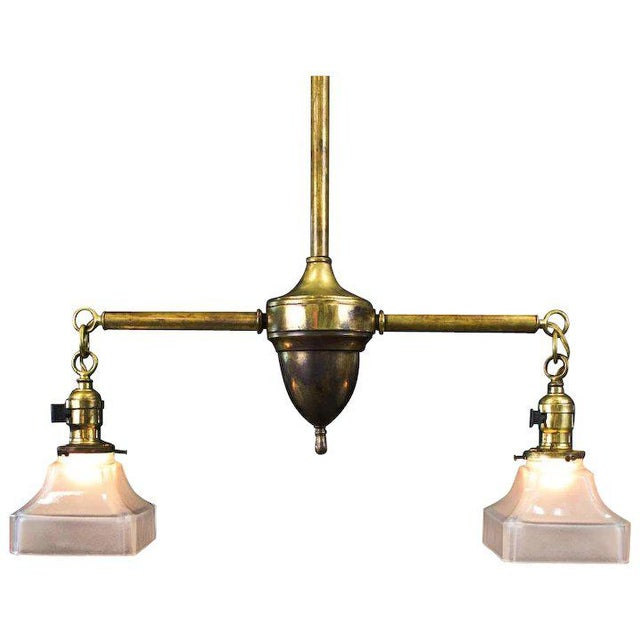 Metal Period American Arts and Crafts Brass Two Light Fixture For Sale - Image 7 of 7