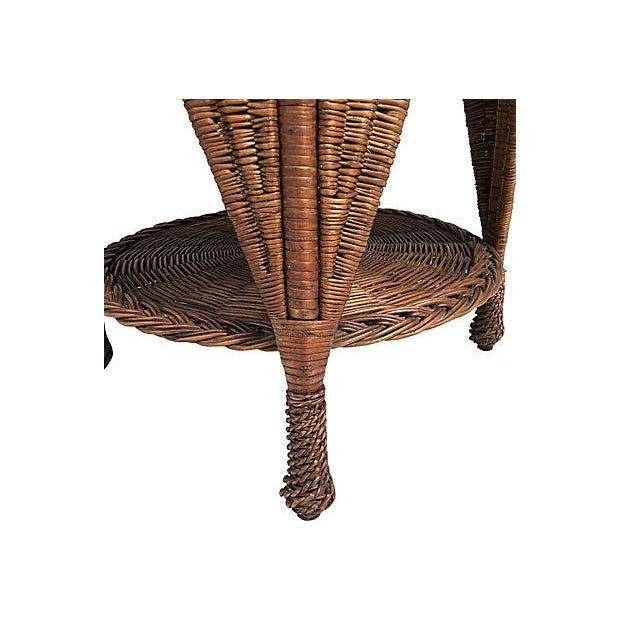 1910s Antique Wicker Heywood Wakefield Table For Sale - Image 5 of 10