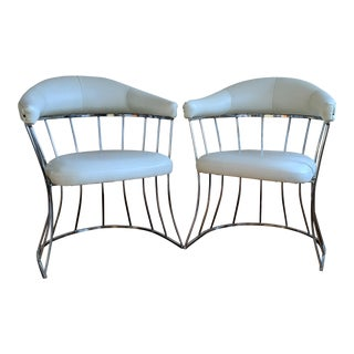 A Pair of Chrome Barrel Chairs - Platner Style For Sale