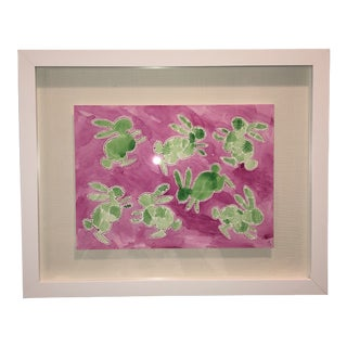Green Hatch Bunnies in Pink Original Watercolor Painting For Sale