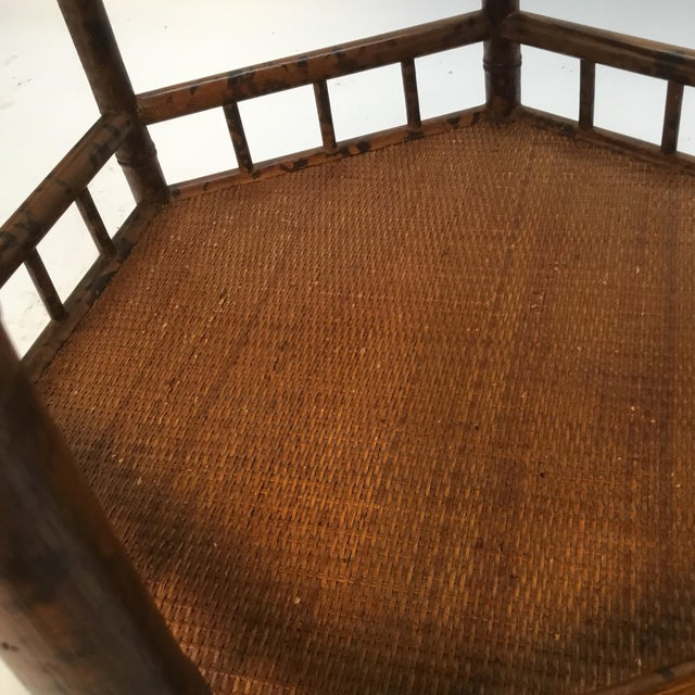 Wood 1960s Asian Bamboo Hexagonal Occasional Table For Sale - Image 7 of 10