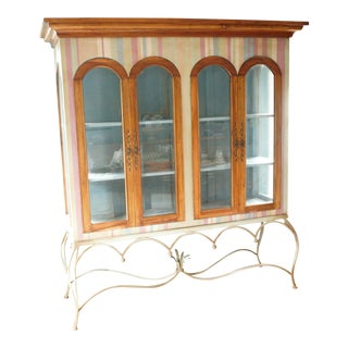 Painted Mahogany Curio Cabinet For Sale