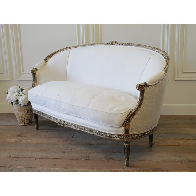 19th Century Louis XVI Style French Settee Upholstered in Antique Grain Sack For Sale - Image 13 of 13