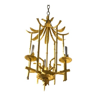 Pale Yellow Hollywood Regency Pagoda Tole and Faux Bamboo Chandelier Pendant For Sale