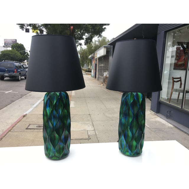 1970s Mid-Century Modern Iridescent Green & Blue Glaze Ceramic Lamps - a Pair For Sale - Image 12 of 12