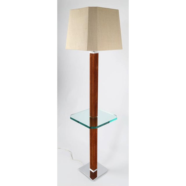 """Gorgeous 1970s lamp table by Karl Springer features a stem wrapped in tobacco-brown suede supporting a 3/4""""-thick glass..."""