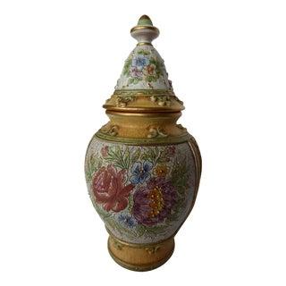 Baroque Flowered Deruta Majolica Italian Vase