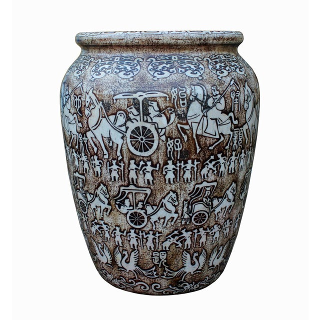 This is a handmade Chinese accent decorative pot made of white color stone. With the brown pigment, the precise ancient...