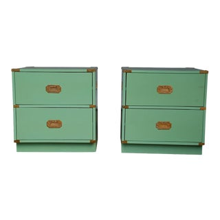20th Century Campaign Mint Nightstands - a Pair For Sale