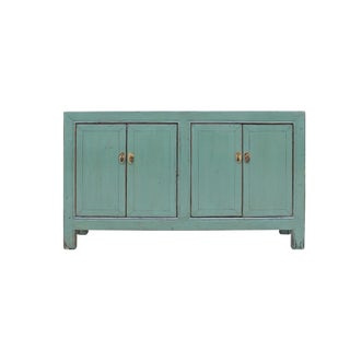 Oriental Distressed Rustic Teal Gray Credenza Sideboard Buffet Table Cabinet For Sale